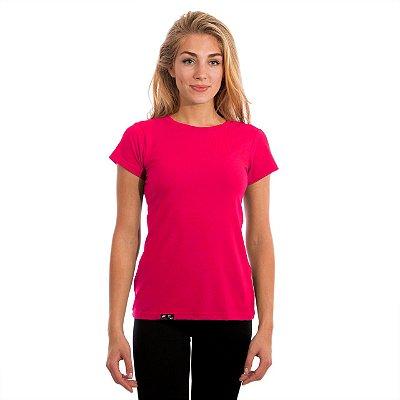 Camiseta Feminina Proteção Solar UV50+ Manga Curta Fúcsia Slim Fitness