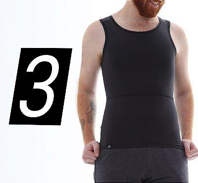 Kit com 3 Cintas Modeladoras e Postural Masculina Body Shaper - cores - Slim Fitness