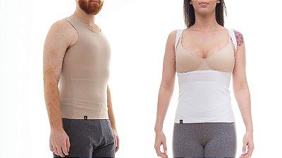 Kit com 2 Cintas Modeladoras e Postural 1 Masculina + 1 Feminina - cores -Slim Fitness