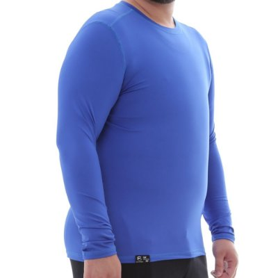 Camiseta Masculina Plus Size Proteção Solar Uv50 Manga Longa - Azul Royal - Slim Fitness