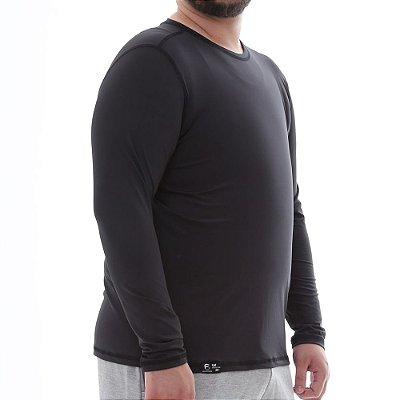 Camiseta Masculina Plus Size Proteção Solar Uv50 Manga Longa - Preto - Slim Fitness