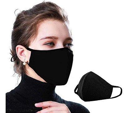 Kit com 05 Máscaras Faciais Tecido Proteção Contra Vírus e Bactérias - Preta - Slim Fitness