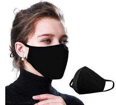Kit com 04 Máscaras Faciais Tecido Proteção Contra Vírus e Bactérias - Preta - Slim Fitness