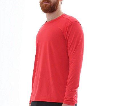 Camiseta Masculina Proteção Solar Uv50 Manga Longa Light - Vermelho - Slim Fitness