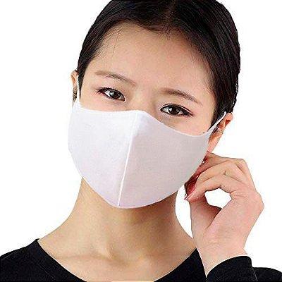 Kit com 10 Máscaras Faciais Tecido Proteção Contra Vírus e Bactérias - Branca - Slim Fitness