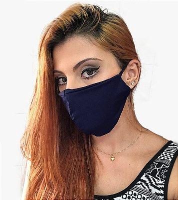 Kit com 03 Máscaras Faciais Tecido Proteção Contra Vírus e Bactérias - Azul Marinho - Slim Fitness