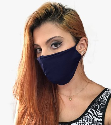 Kit com 30 Máscaras Faciais Tecido Proteção Contra Vírus e Bactérias - Azul Marinho - Slim Fitness