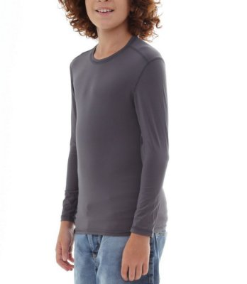 BF - Camiseta Infantil Proteção Solar Uv50 - Cinza - Slim Fitness