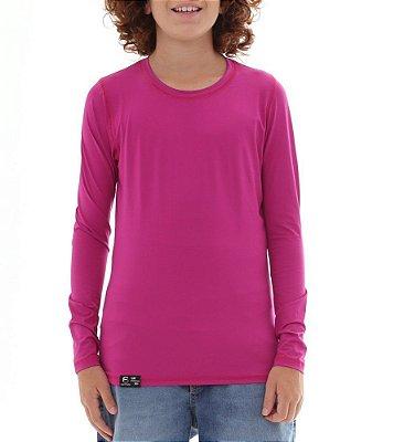 BF  - Camiseta Infantil Proteção Solar Uv50 - Fúscia - Slim Fitness
