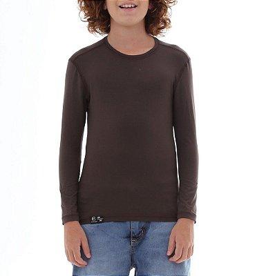 BF - Camiseta Infantil Proteção Solar Uv50 - Marrom - Slim Fitness