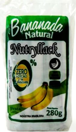 Bananada Natural Nutryllack Zero Açúcar 280g (10 unids 28g)