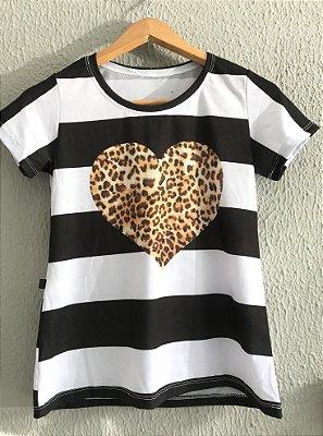 T-Shirt Coração Onça Listrada
