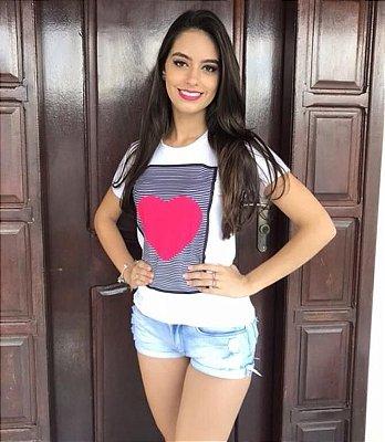 T-Shirt Atacado BIG HEART - Adulta - Várias cores de tecido