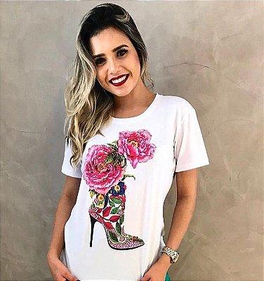 T-Shirt Atacado FLOWER SHOES - Adulto, Infantil ou Kit Mãe e Filha