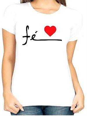 T-Shirt Atacado FÉ NO CORAÇÃO - Adulta - Várias cores de tecido