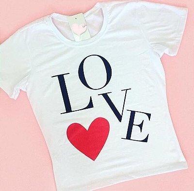 T-Shirt Atacado LOVE e CORACAO - Adulto - Várias cores de tecido