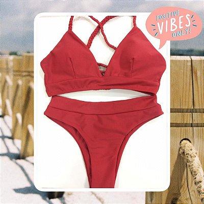 Bikini Positive Vibes - Red - P, M e G