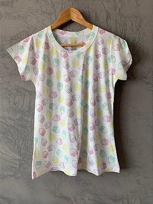 T-shirt Cupcackes - Tam. (M) - Pronta Entrega