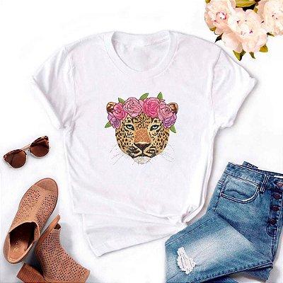 Tshirt Feminina Atacado ONÇA FLOWER  - TUMBLR