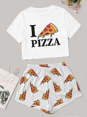 BABY DOLL - PIJAMA - I LOVE PIZZA - TAM. ÚNICO M - ENCOMENDA
