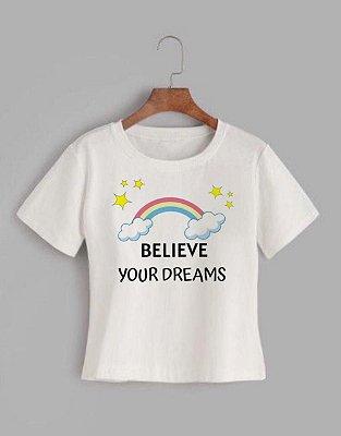 T-shirt BELIEVE - Tam.Único - Pronta Entrega