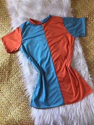 Blusão bi-color azul suede - TAM Único - PRONTA ENTREGA