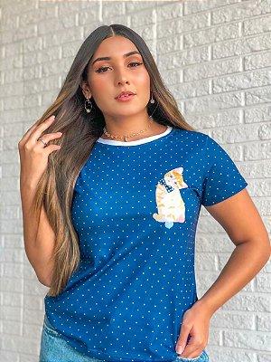 T-shirt POÁ CAT - Tam.Único - Pronta Entrega - Coleção Florescer