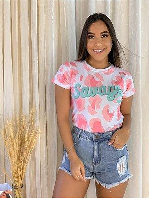 T-shirt SAVAGE- Tam.Único - Pronta Entrega - Coleção Florescer