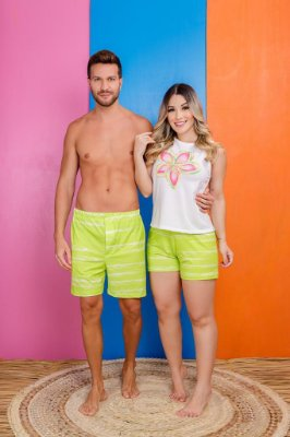 Coleção Casal - Kit pijama casal - VERDE FLOR