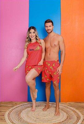 Coleção Casal - Kit pijama casal - I LOVE PIZZA