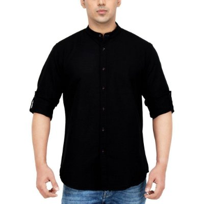 CAMISA SLIM FIT PRETA PRIEST NECK - GOLA PADRE
