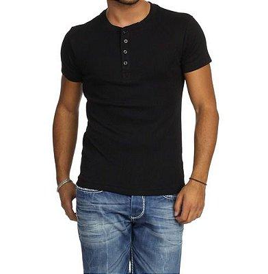 Camiseta HENLEY Classic Slim Fit Manga Curta Gola Redonda PRETA