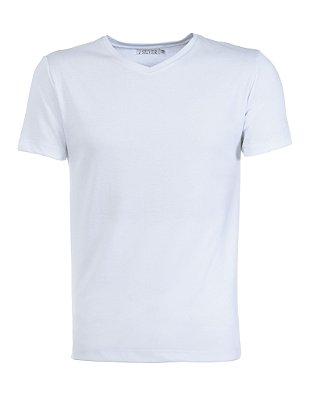 Camiseta Gola V Slim Fit Manga Curta - BRANCA