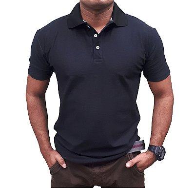 Camiseta Polo Spring Corte Regular (Veste Confortável) Manga Curta - PRETA