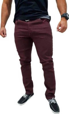 Calça Jeans Masculina Slim Skinny Lycra Elastano - Vinho