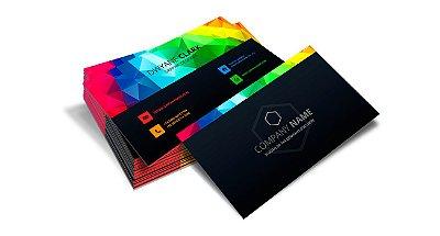 Cartão de Visita - Formato 9x5 cm - Papel Couche 300gr - 4x4 Cores - Verniz Reserva