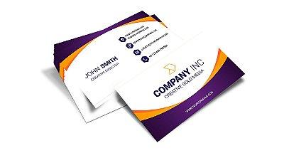 Cartão de Visita - Formato 9x5 cm - Papel Couche 300gr - 4x4 Cores - Verniz Total