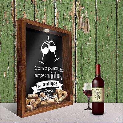 Quadro Porta Rolhas - Vinho e Amigos
