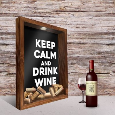 Quadro Porta Rolhas Keep Calm Drink Wine