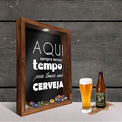 Quadro Porta Tampinhas Tempo da Cerveja