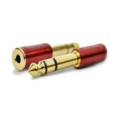Plug Adaptador Santo Angelo P2 (f)/ P10 (m) Stereo Dourado Vermelho
