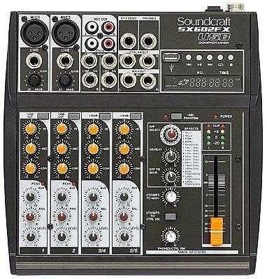 Mesa de Som Soundcraft SX602 FX 6 Canais USB