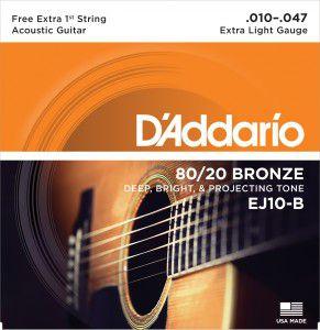 Encordoamento Violão D'Addario EJ10 Extra Leve 10-47