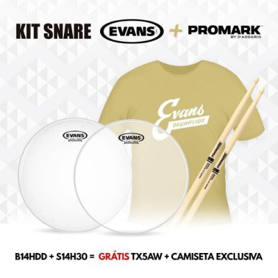 Kit Pele Evans Snare - Pele 14'' Porosa B14HDD, Pele 14'' Resposta S14H30 + Baqueta Promark 5A + Camiseta Evans