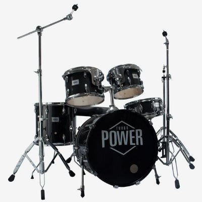 "Bateria Turbo Power Black Sparkle 20"" com Banco e Ferragens"