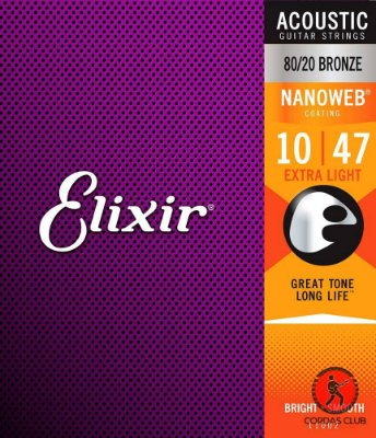 Encordoamento Violão Elixir Nanoweb Bronze Extra Light 10-47
