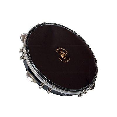 """Pandeiro Cajon Percussion SPL-1007 Fórmica Preta 10"""" Nylon Preto"""