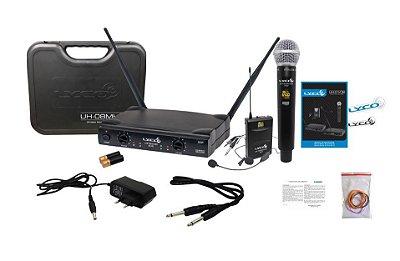Microfone Lyco UH-08 MHLI Mão+ Headset + Lapela C/ Fio