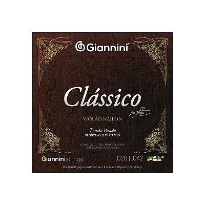 Encordoamento Violão Nylon Giannini Clássico Tensão Pesada GENWPA