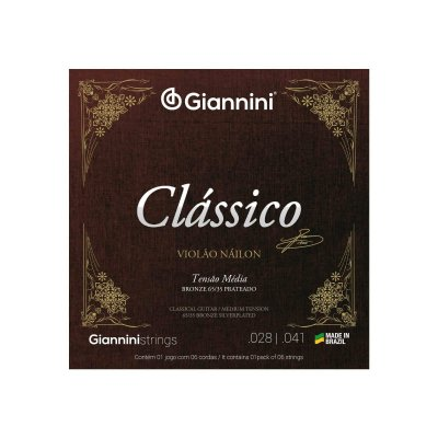Encordoamento Violão Nylon Giannini Clássico Tensão Média GENWPM